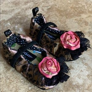 Moccasin Baby Shoe Pink & Brown Floral
